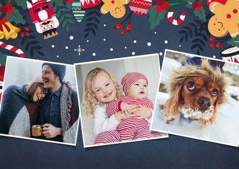 Weihnachtskarte mit weihnachtlichen Illustrationen 2