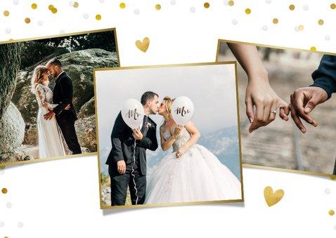 Wij zijn getrouwd kaart met eigen foto en confetti kader 2