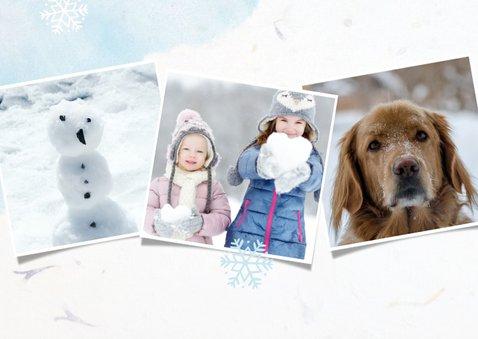 Winterse fotocollage kerstkaart met sneeuwvlokken en foto's 2