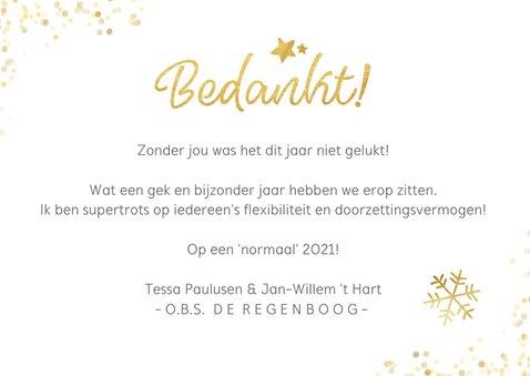Zakelijke kerstkaart bedankje medewerkers met goud 'bedankt' 3