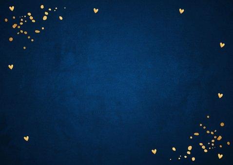 Zakelijke kerstkaart blauw fotocollage confetti goudlook 2