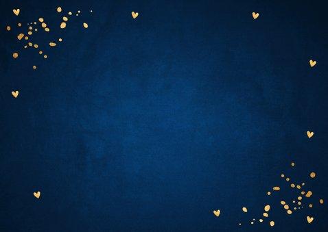Zakelijke kerstkaart blauw fotocollage confetti goudlook Achterkant