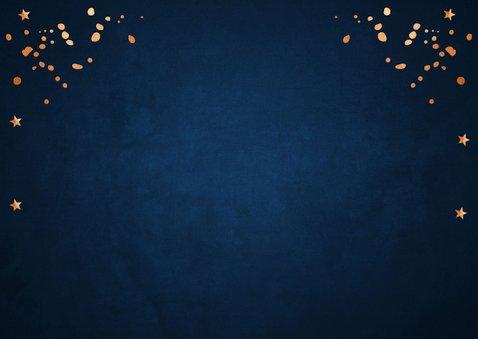 Zakelijke kerstkaart blauw fotocollage confetti koperlook 2