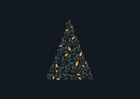 Zakelijke kerstkaart donker met botanische kerstboom en foto 2