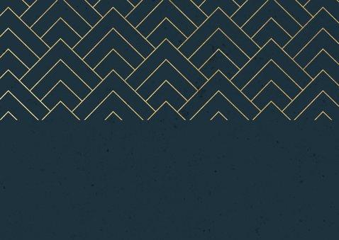 Zakelijke kerstkaart fotocollage donkerblauw, gouden patroon Achterkant