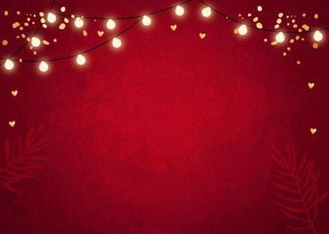 Zakelijke kerstkaart fotocollage rood lampjes goudlook 2