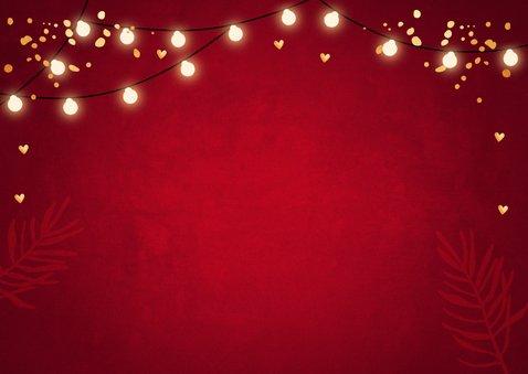 Zakelijke kerstkaart fotocollage rood lampjes goudlook Achterkant