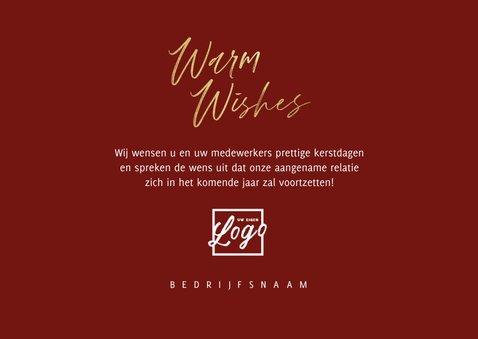 Zakelijke kerstkaart fotocollage warm wishes goud stijlvol 3
