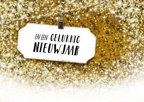 Zakelijke kerstkaart gouden glitter wit label liggend 2