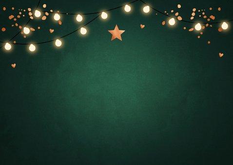 Zakelijke kerstkaart groen confetti koperlook lampjes 2