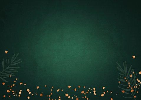 Zakelijke kerstkaart groen confetti koperlook lampjes Achterkant