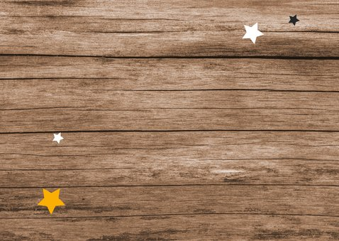 Zakelijke kerstkaart hout sterren stempel industrieel stoer Achterkant