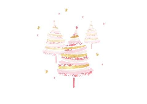 Zakelijke kerstkaart kerstbomen roze goud foto 2