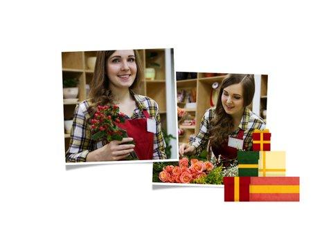 Zakelijke kerstkaart met foto en kerstboom van cadeaus 2