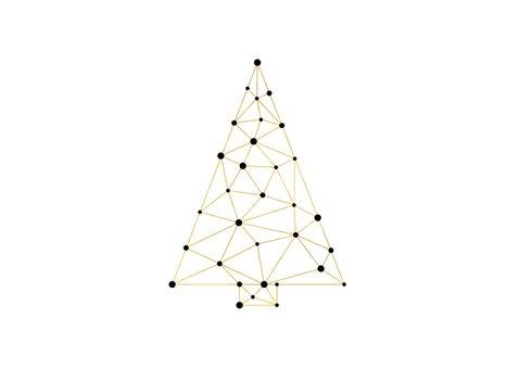 Zakelijke kerstkaart met foto verbinding gouden kerstboom 2