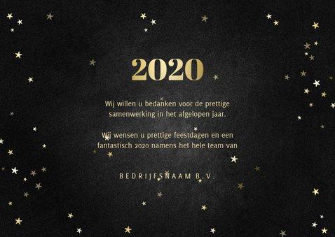 Zakelijke kerstkaart met gouden 2020 en sterren 3