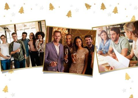 Zakelijke kerstkaart met gouden kerstboompjes en eigen foto 2