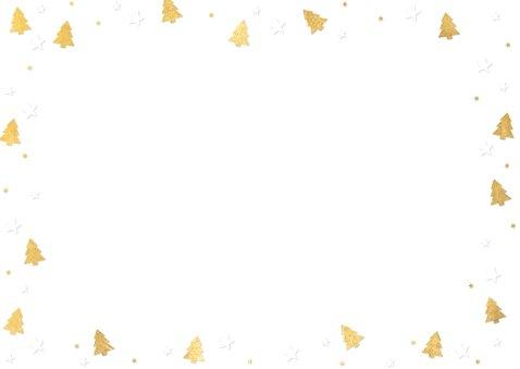 Zakelijke kerstkaart met gouden kerstboompjes en eigen foto Achterkant