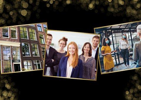 Zakelijke kerstkaart met grote foto en gouden confetti kader 2