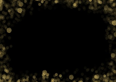 Zakelijke kerstkaart met grote foto en gouden confetti kader Achterkant