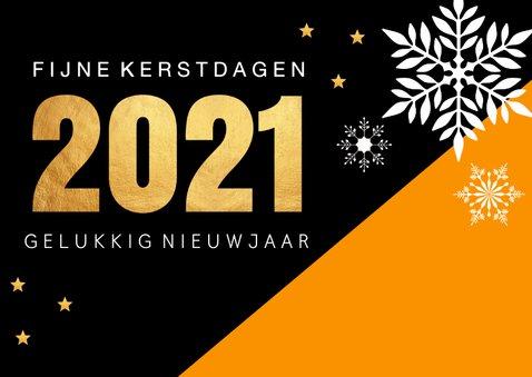Zakelijke kerstkaart oranje zwart 2021 goudlook 2