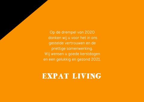 Zakelijke kerstkaart oranje zwart 2021 goudlook 3