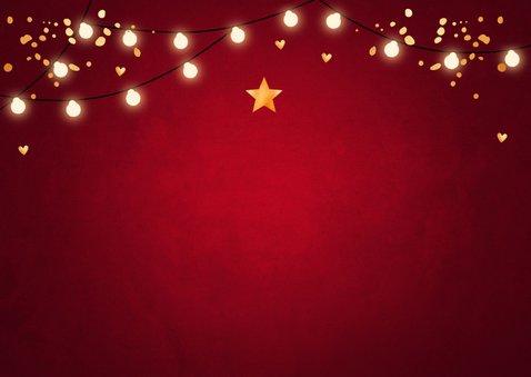 Zakelijke kerstkaart rood lampjes confetti goudlook 2