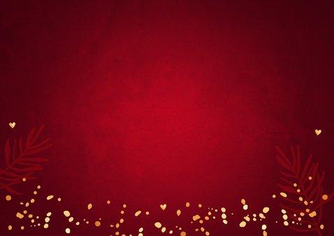 Zakelijke kerstkaart rood lampjes confetti goudlook Achterkant