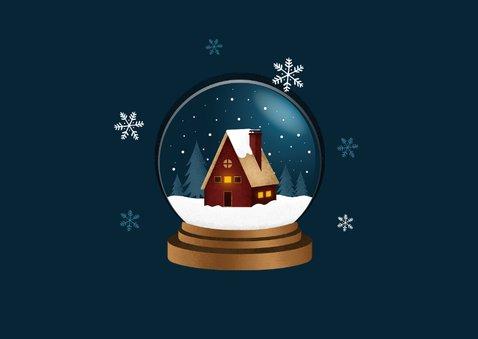Zakelijke kerstkaart sneeuwbol huis winter foto thuiswerken 2
