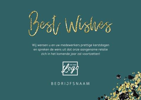 Zakelijke kerstkaart stijlvol goud fotocollage best wishes 3
