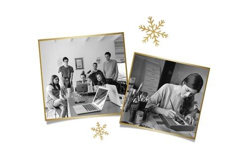 Zakelijke kerstkaart stijlvol sneeuwvlokjes goud foto's 2