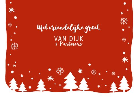 Zakelijke kerstkaart tekst sneeuw kerstbomen 3