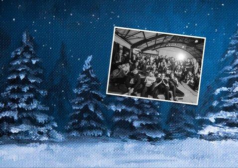 Zakelijke kerstkaart winter kerstbomen sneeuw olieverf 2