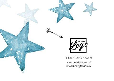 Zakelijke kerstkaart winter sterren foto logo blauw 2
