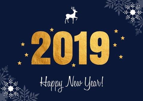 Zakelijke nieuwjaarskaart 2019 goud sneeuwvlokken 2