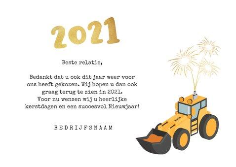 Zakelijke nieuwjaarskaart graafmachine bouw 2021 vuurwerk 3