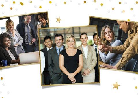 Zakelijke nieuwjaarskaart met grote foto en confetti 2
