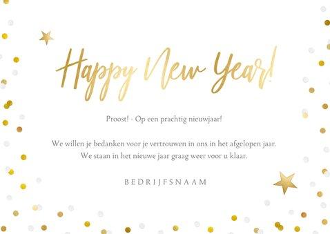 Zakelijke nieuwjaarskaart met grote foto en confetti 3