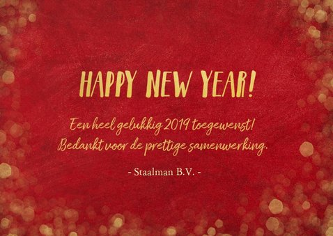 Zakelijke nieuwjaarskaart rood met goudlook confetti 3