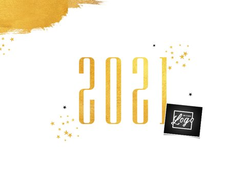 Zakelijke nieuwjaarskaart stijlvol goud sterren 2021 2