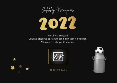 Zakelijke nieuwjaarskaart tractor vuurwerk carbid 2022 3