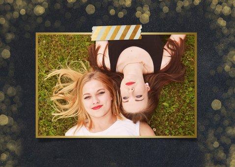 Zakelijke nieuwjaarskaart zwart met goudlook confetti 2