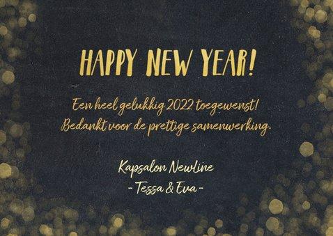 Zakelijke nieuwjaarskaart zwart met goudlook confetti 3