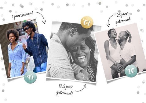 Zilveren huwelijk 25 jaar getrouwd kaart met 3 eigen foto's 2