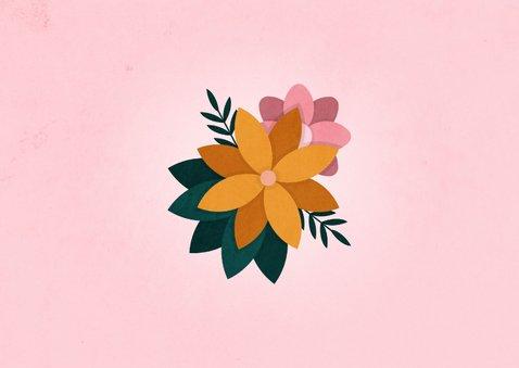 Zomaar kaart knuffel met bloemen roze 2