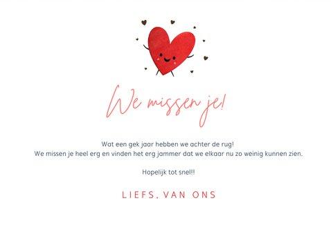 Zomaar kaart veel liefs en een kus door de brievenbus hartje 3