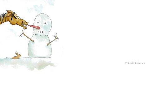 Zomaar kaarten warme wintergroet Sjors met sneeuwpop 2