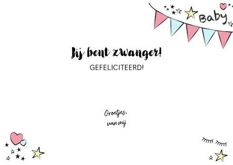 Zwangerschap -Hippe felicitatie kaart in handlettering-stijl 3