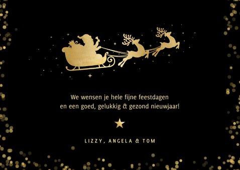 Zwarte liggende kerstkaart met rendier en foto  3