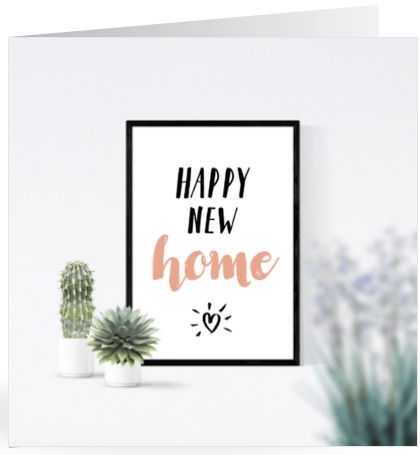 felicitatie happy new home posters en planten